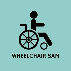 Text reading 'Wheelchair Sam' below a silhouette of a man in a wheelchair.